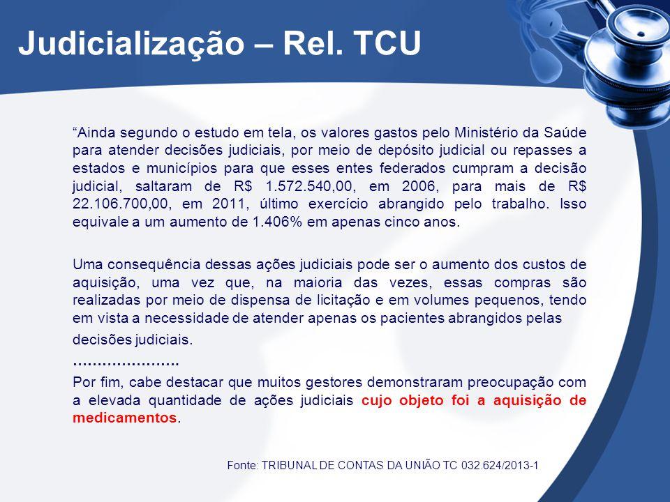 """Judicialização – Rel. TCU """"Ainda segundo o estudo em tela, os valores gastos pelo Ministério da Saúde para atender decisões judiciais, por meio de dep"""