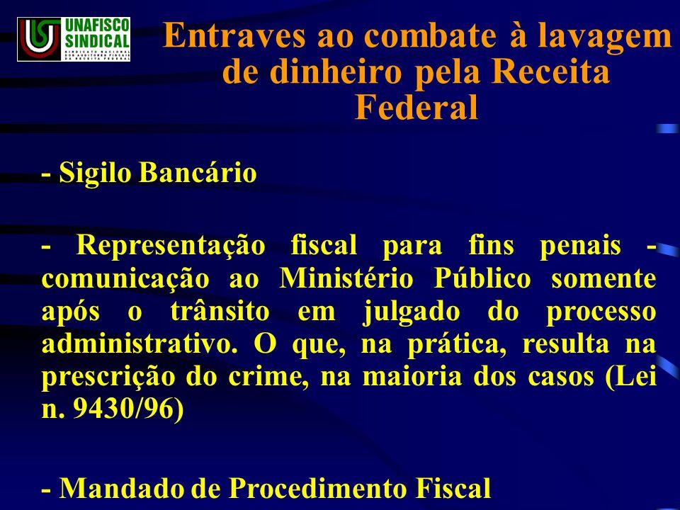 Entraves ao combate à lavagem de dinheiro pela Receita Federal - Sigilo Bancário - Representação fiscal para fins penais - comunicação ao Ministério Público somente após o trânsito em julgado do processo administrativo.