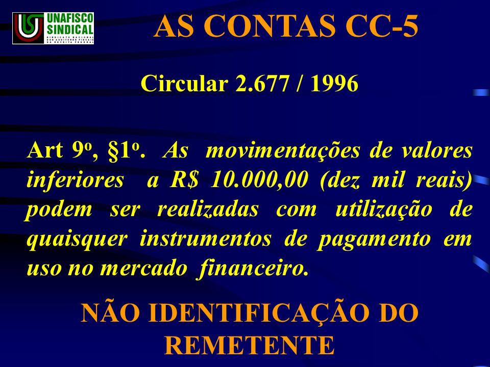 AS CONTAS CC-5 Circular 2.677 / 1996 Art 9 o, §1 o.