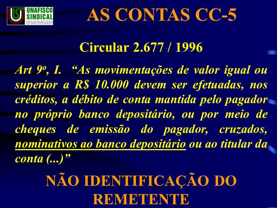 AS CONTAS CC-5 Circular 2.677 / 1996 Art 9 o, I.