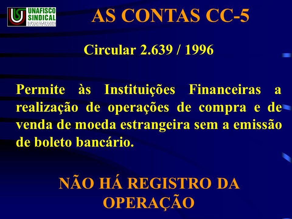 AS CONTAS CC-5 Circular 2.639 / 1996 Permite às Instituições Financeiras a realização de operações de compra e de venda de moeda estrangeira sem a emissão de boleto bancário.