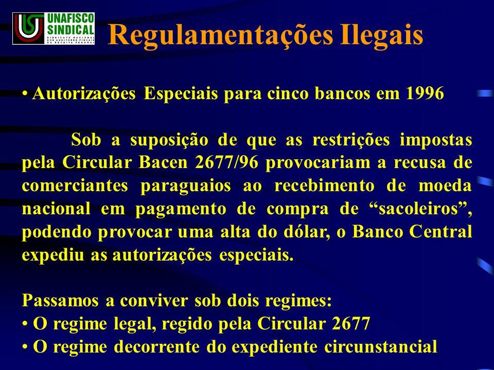 • Autorizações Especiais para cinco bancos em 1996 Sob a suposição de que as restrições impostas pela Circular Bacen 2677/96 provocariam a recusa de comerciantes paraguaios ao recebimento de moeda nacional em pagamento de compra de sacoleiros , podendo provocar uma alta do dólar, o Banco Central expediu as autorizações especiais.