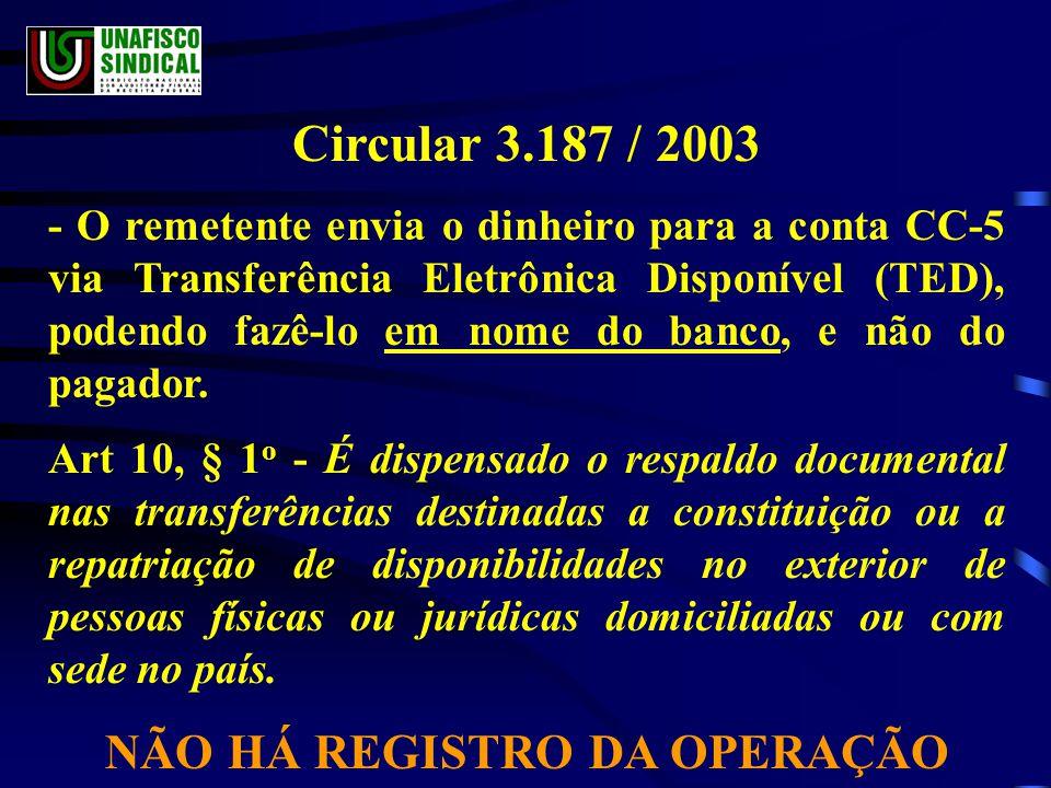 Circular 3.187 / 2003 - O remetente envia o dinheiro para a conta CC-5 via Transferência Eletrônica Disponível (TED), podendo fazê-lo em nome do banco, e não do pagador.