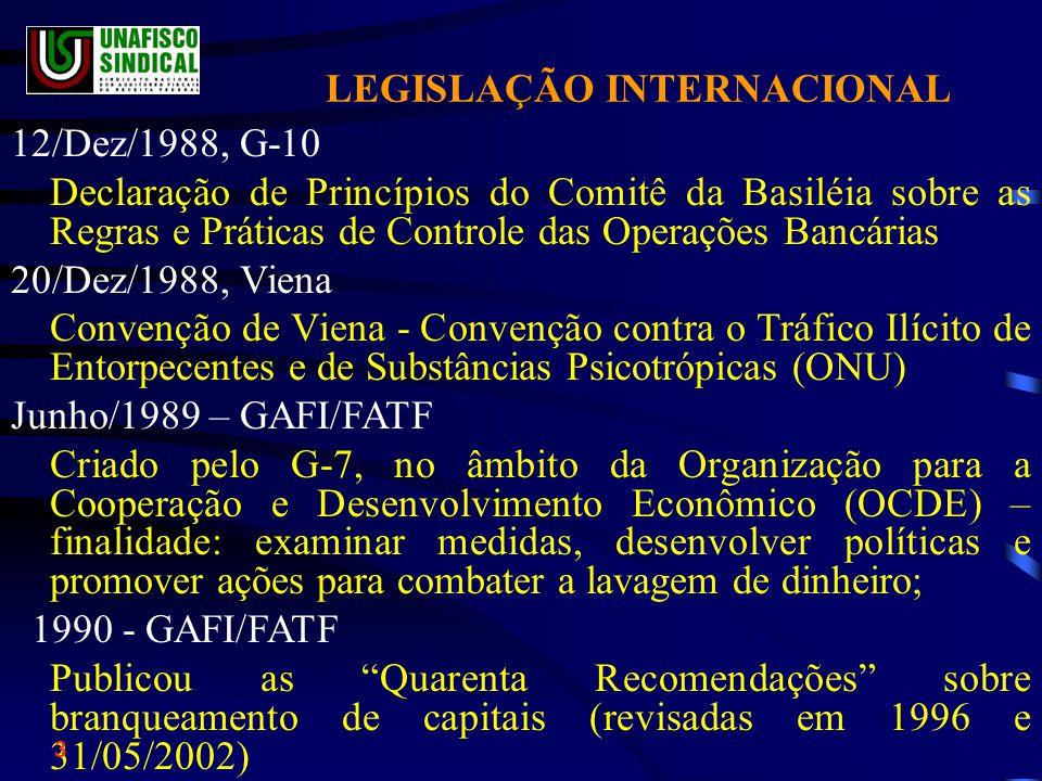 LEGISLAÇÃO INTERNACIONAL 12/Dez/1988, G-10 Declaração de Princípios do Comitê da Basiléia sobre as Regras e Práticas de Controle das Operações Bancárias 20/Dez/1988, Viena Convenção de Viena - Convenção contra o Tráfico Ilícito de Entorpecentes e de Substâncias Psicotrópicas (ONU) Junho/1989 – GAFI/FATF Criado pelo G-7, no âmbito da Organização para a Cooperação e Desenvolvimento Econômico (OCDE) – finalidade: examinar medidas, desenvolver políticas e promover ações para combater a lavagem de dinheiro; 1990 - GAFI/FATF Publicou as Quarenta Recomendações sobre branqueamento de capitais (revisadas em 1996 e 31/05/2002) 3