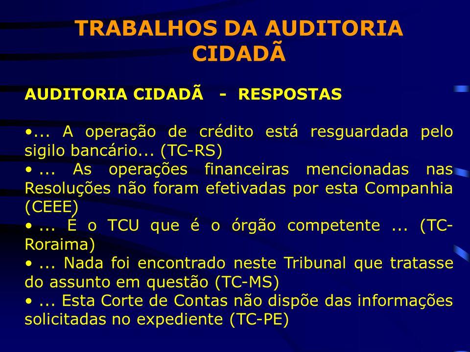 TRABALHOS DA AUDITORIA CIDADÃ AUDITORIA CIDADÃ - RESPOSTAS •...