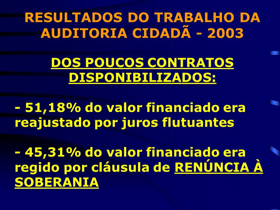 RESULTADOS DO TRABALHO DA AUDITORIA CIDADÃ - 2003 DOS POUCOS CONTRATOS DISPONIBILIZADOS: - 51,18% do valor financiado era reajustado por juros flutuantes - 45,31% do valor financiado era regido por cláusula de RENÚNCIA À SOBERANIA