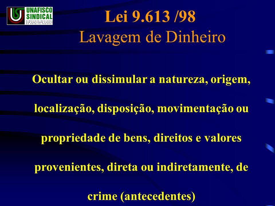 Lei 9.613 /98 Lavagem de Dinheiro Ocultar ou dissimular a natureza, origem, localização, disposição, movimentação ou propriedade de bens, direitos e valores provenientes, direta ou indiretamente, de crime (antecedentes)