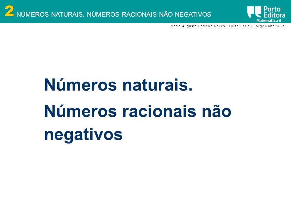 2 NÚMEROS NATURAIS. NÚMEROS RACIONAIS NÃO NEGATIVOS Matemática 6 Maria Augusta Ferreira Neves | Luísa Faria | Jorge Nuno Silva Números naturais. Númer