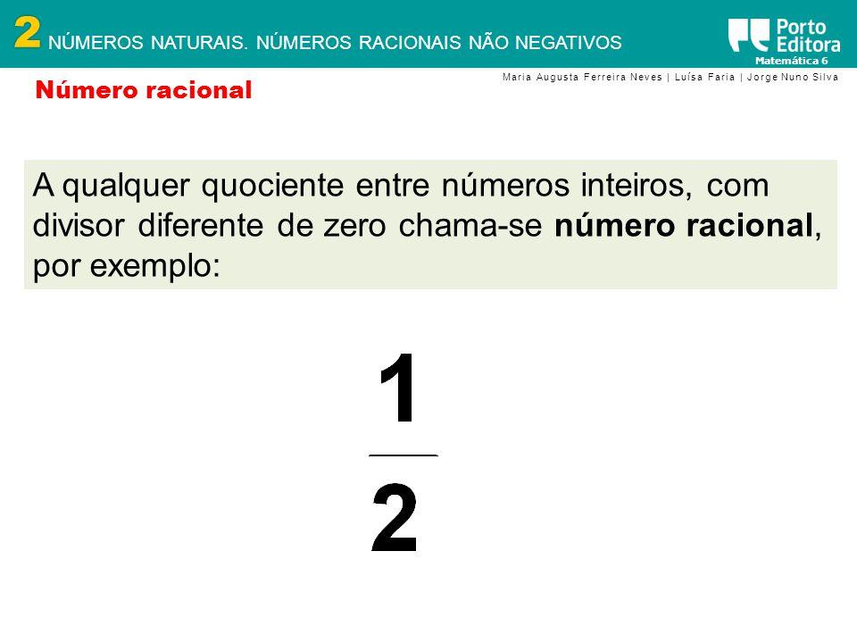 2 NÚMEROS NATURAIS. NÚMEROS RACIONAIS NÃO NEGATIVOS Matemática 6 Maria Augusta Ferreira Neves | Luísa Faria | Jorge Nuno Silva Número racional A qualq
