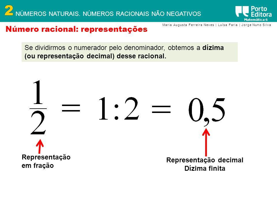 2 NÚMEROS NATURAIS. NÚMEROS RACIONAIS NÃO NEGATIVOS Matemática 6 Maria Augusta Ferreira Neves | Luísa Faria | Jorge Nuno Silva Número racional: repres