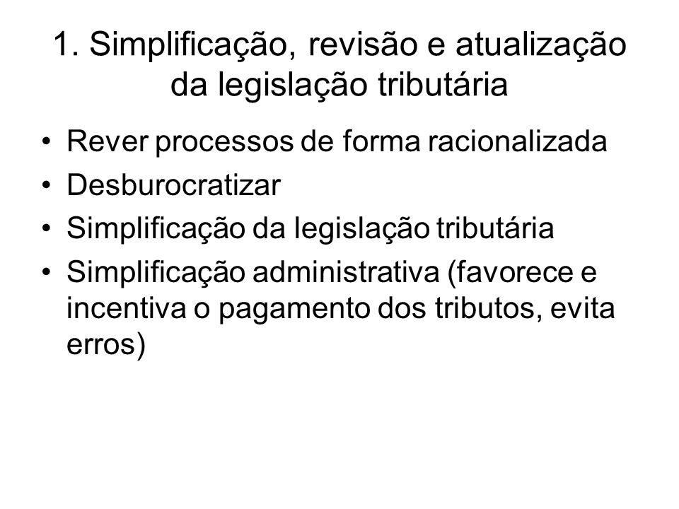 1. Simplificação, revisão e atualização da legislação tributária •Rever processos de forma racionalizada •Desburocratizar •Simplificação da legislação