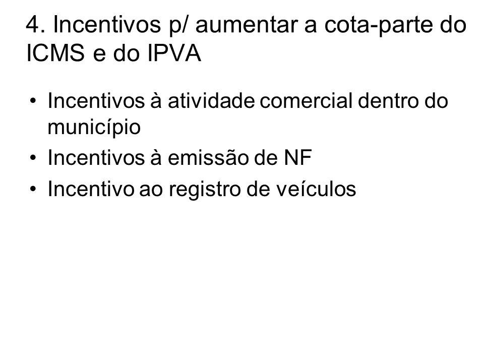 4. Incentivos p/ aumentar a cota-parte do ICMS e do IPVA •Incentivos à atividade comercial dentro do município •Incentivos à emissão de NF •Incentivo