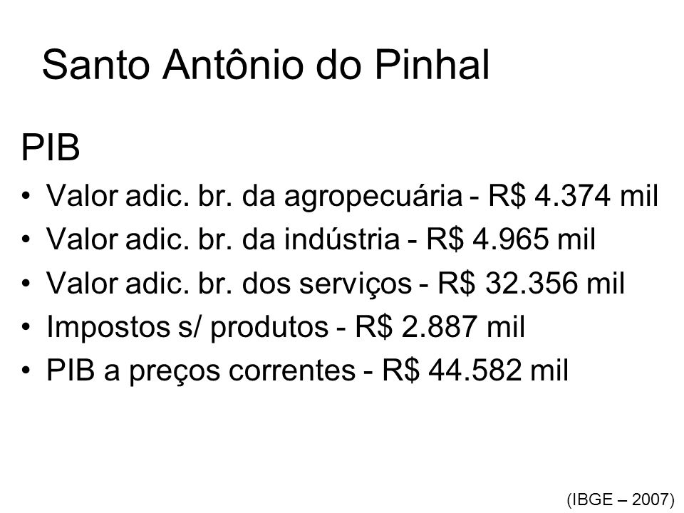 Santo Antônio do Pinhal PIB •Valor adic. br. da agropecuária - R$ 4.374 mil •Valor adic. br. da indústria - R$ 4.965 mil •Valor adic. br. dos serviços