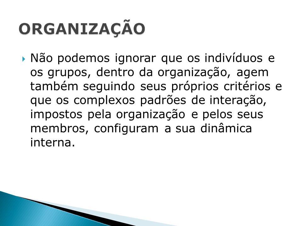  Não podemos ignorar que os indivíduos e os grupos, dentro da organização, agem também seguindo seus próprios critérios e que os complexos padrões de