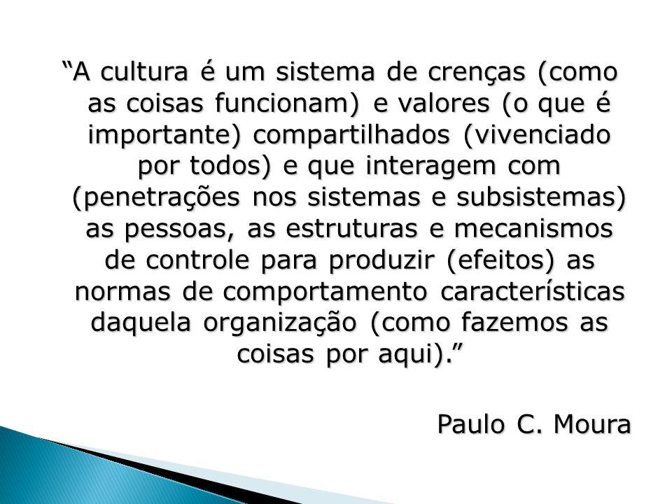 """""""A cultura é um sistema de crenças (como as coisas funcionam) e valores (o que é importante) compartilhados (vivenciado por todos) e que interagem com"""