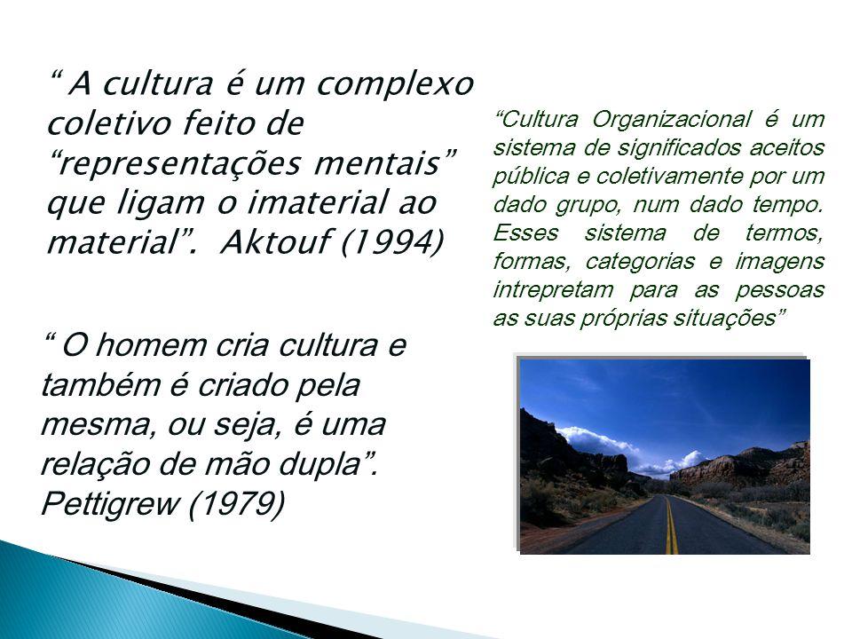 """"""" A cultura é um complexo coletivo feito de """"representações mentais"""" que ligam o imaterial ao material"""". Aktouf (1994) """" O homem cria cultura e também"""