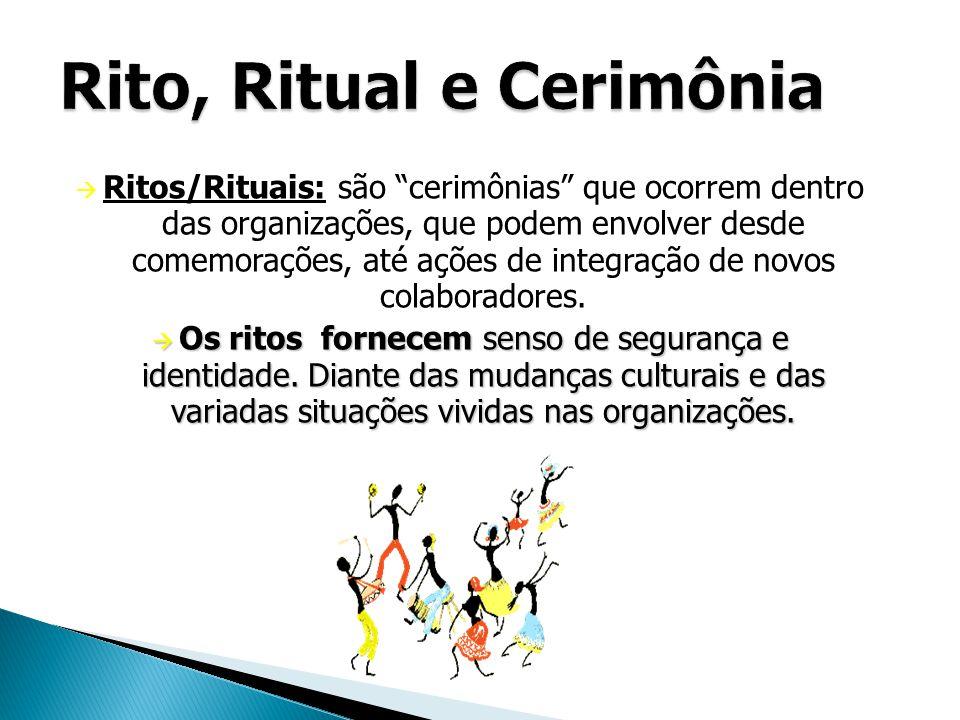 """RRitos/Rituais: são """"cerimônias"""" que ocorrem dentro das organizações, que podem envolver desde comemorações, até ações de integração de novos colabo"""