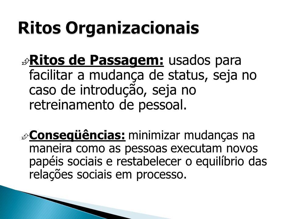  Ritos de Passagem: usados para facilitar a mudança de status, seja no caso de introdução, seja no retreinamento de pessoal.  Conseqüências: minimiz
