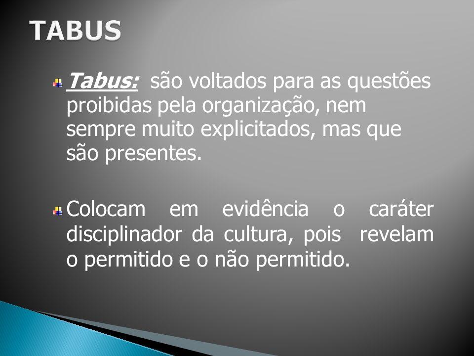 Tabus: são voltados para as questões proibidas pela organização, nem sempre muito explicitados, mas que são presentes. Colocam em evidência o caráter