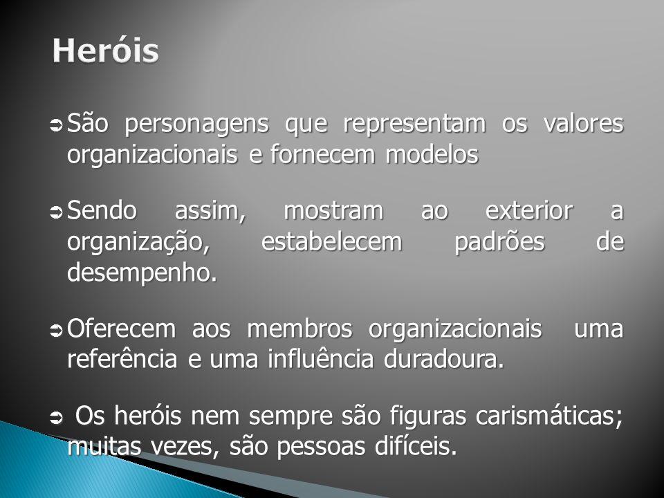  São personagens que representam os valores organizacionais e fornecem modelos  Sendo assim, mostram ao exterior a organização, estabelecem padrões