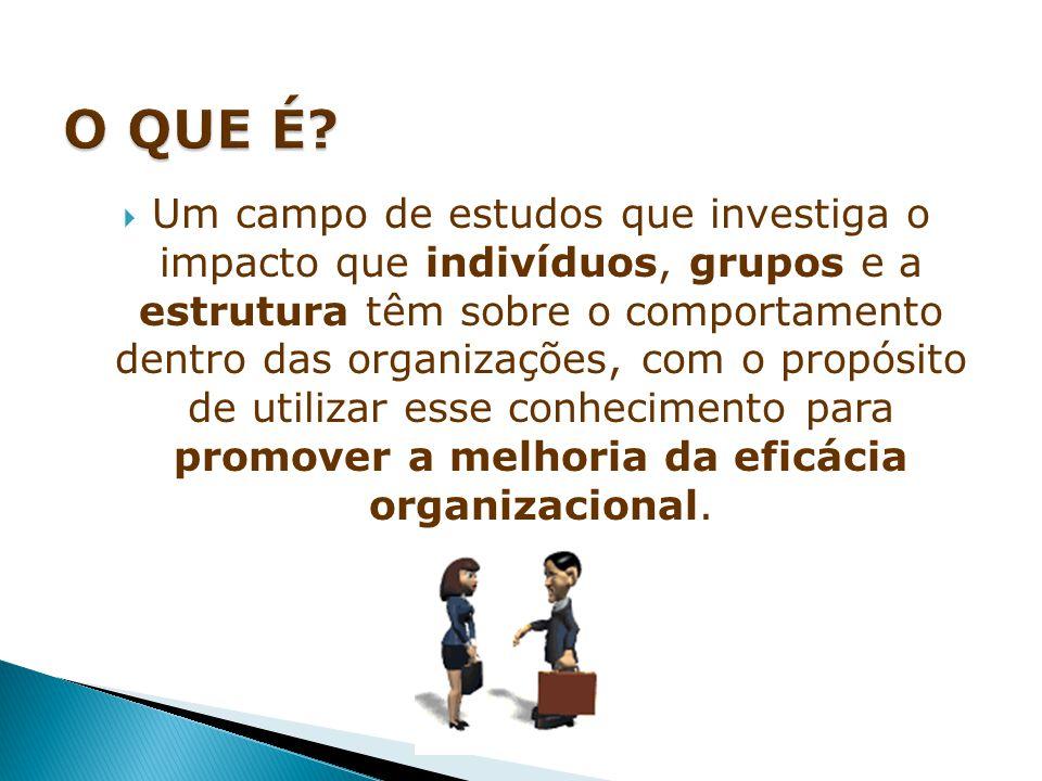  Um campo de estudos que investiga o impacto que indivíduos, grupos e a estrutura têm sobre o comportamento dentro das organizações, com o propósito