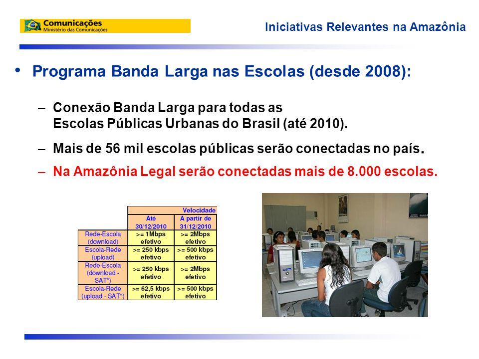 • Programa Banda Larga nas Escolas (desde 2008): –Conexão Banda Larga para todas as Escolas Públicas Urbanas do Brasil (até 2010).