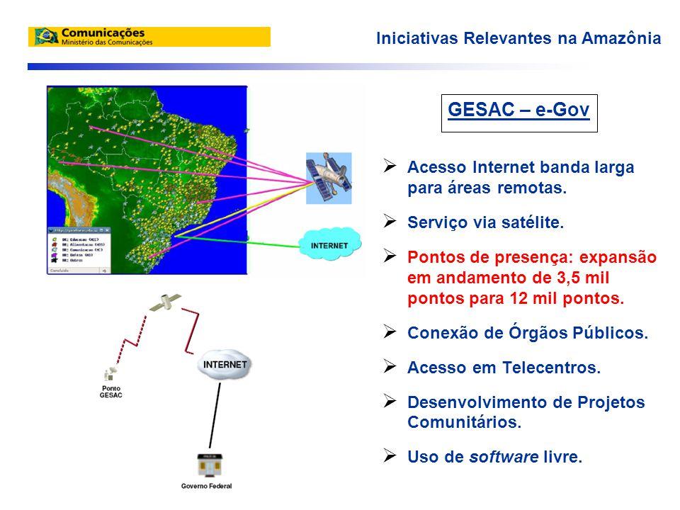 GESAC – e-Gov  Acesso Internet banda larga para áreas remotas.