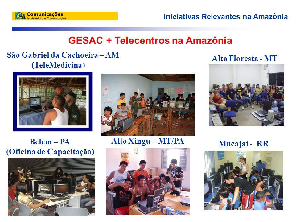 São Gabriel da Cachoeira – AM (TeleMedicina) Alta Floresta - MT Belém – PA (Oficina de Capacitação) Mucajaí - RR Alto Xingu – MT/PA Iniciativas Relevantes na Amazônia GESAC + Telecentros na Amazônia