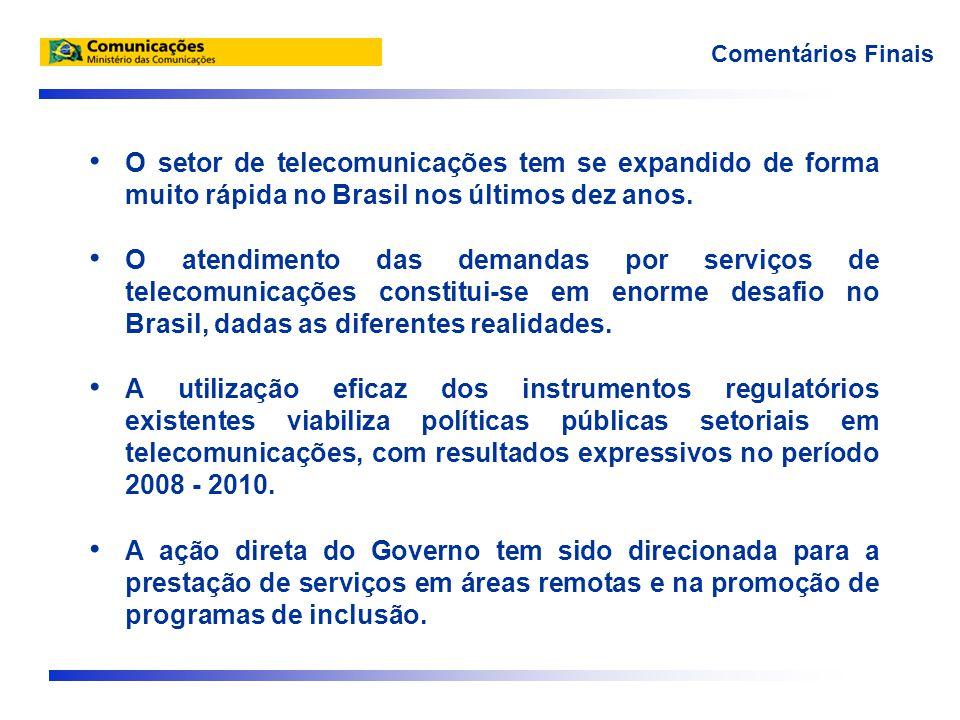 Comentários Finais • O setor de telecomunicações tem se expandido de forma muito rápida no Brasil nos últimos dez anos.