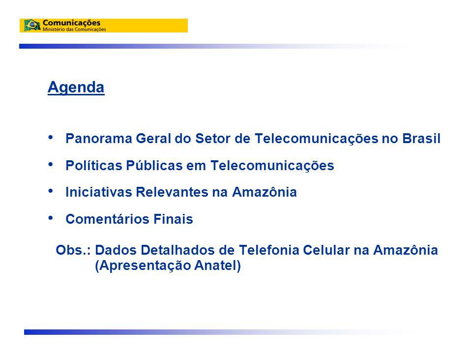 Agenda • Panorama Geral do Setor de Telecomunicações no Brasil • Políticas Públicas em Telecomunicações • Iniciativas Relevantes na Amazônia • Comentários Finais Obs.: Dados Detalhados de Telefonia Celular na Amazônia (Apresentação Anatel)