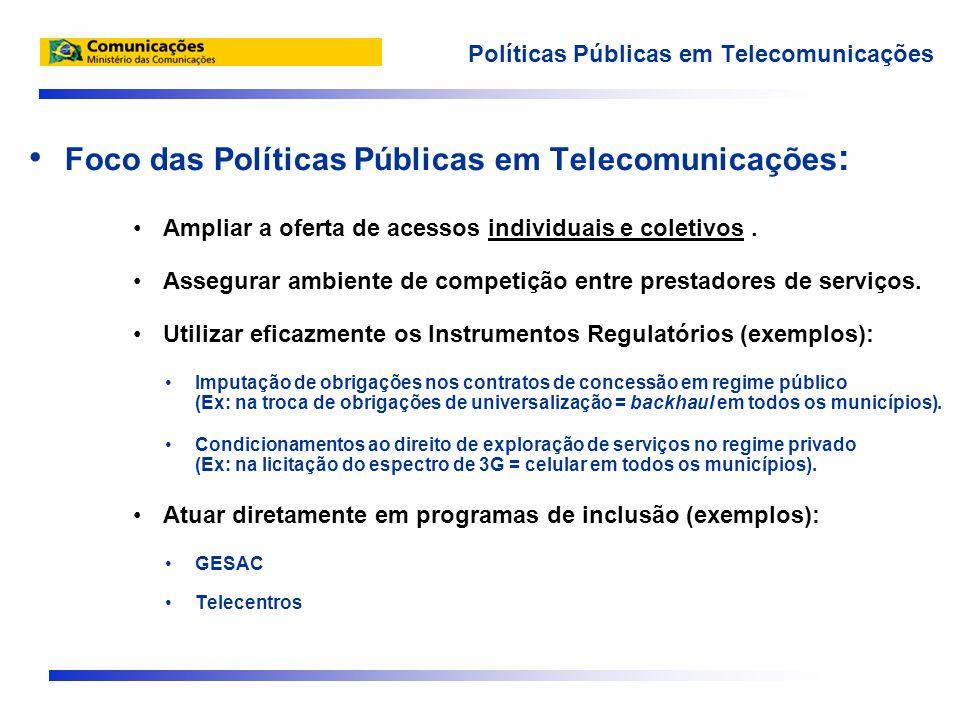 • Foco das Políticas Públicas em Telecomunicações : •Ampliar a oferta de acessos individuais e coletivos.
