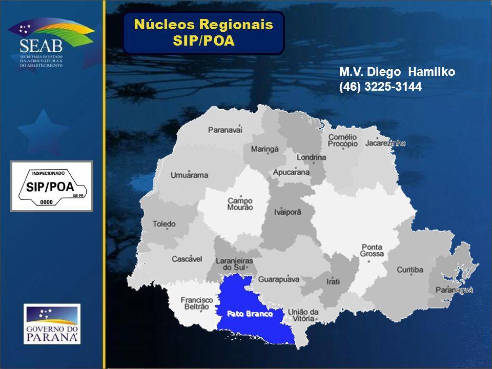 Pato Branco M.V. Diego Hamilko (46) 3225-3144 Núcleos Regionais SIP/POA
