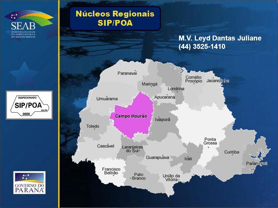 Campo Mourão M.V. Leyd Dantas Juliane (44) 3525-1410 Núcleos Regionais SIP/POA