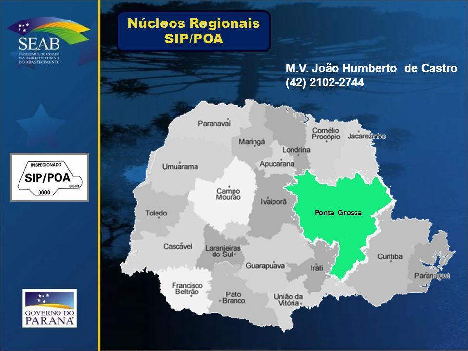 Ponta Grossa M.V. João Humberto de Castro (42) 2102-2744 Núcleos Regionais SIP/POA
