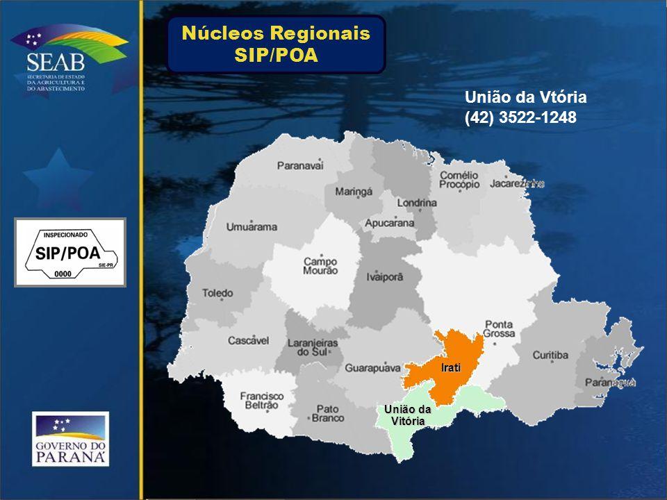 Irati União da Vitória União da Vtória (42) 3522-1248 Núcleos Regionais SIP/POA