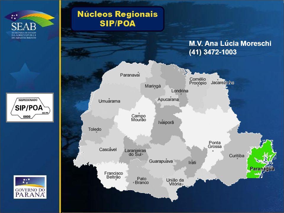 M.V. Ana Lúcia Moreschi (41) 3472-1003 Paranaguá Núcleos Regionais SIP/POA