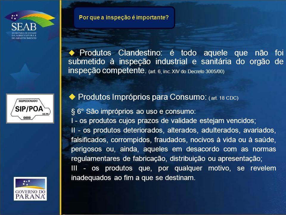  Produtos Clandestino: é todo aquele que não foi submetido à inspeção industrial e sanitária do orgão de inspeção competente.