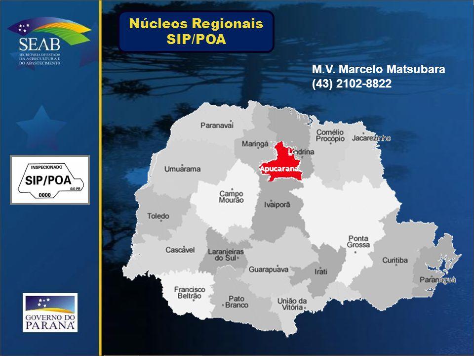 Apucarana M.V. Marcelo Matsubara (43) 2102-8822 Núcleos Regionais SIP/POA