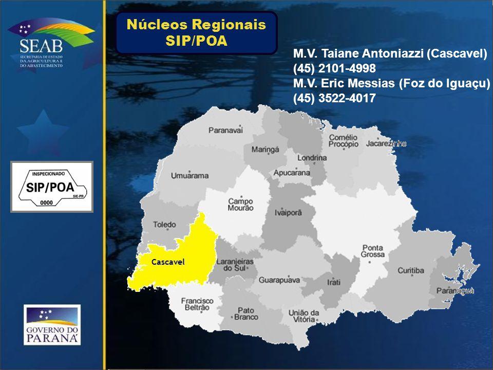 FranciscoBeltrão M.V. Viviane Raimann M.V. Beliza Oliveira (46) 3211-3544 Núcleos Regionais SIP/POA