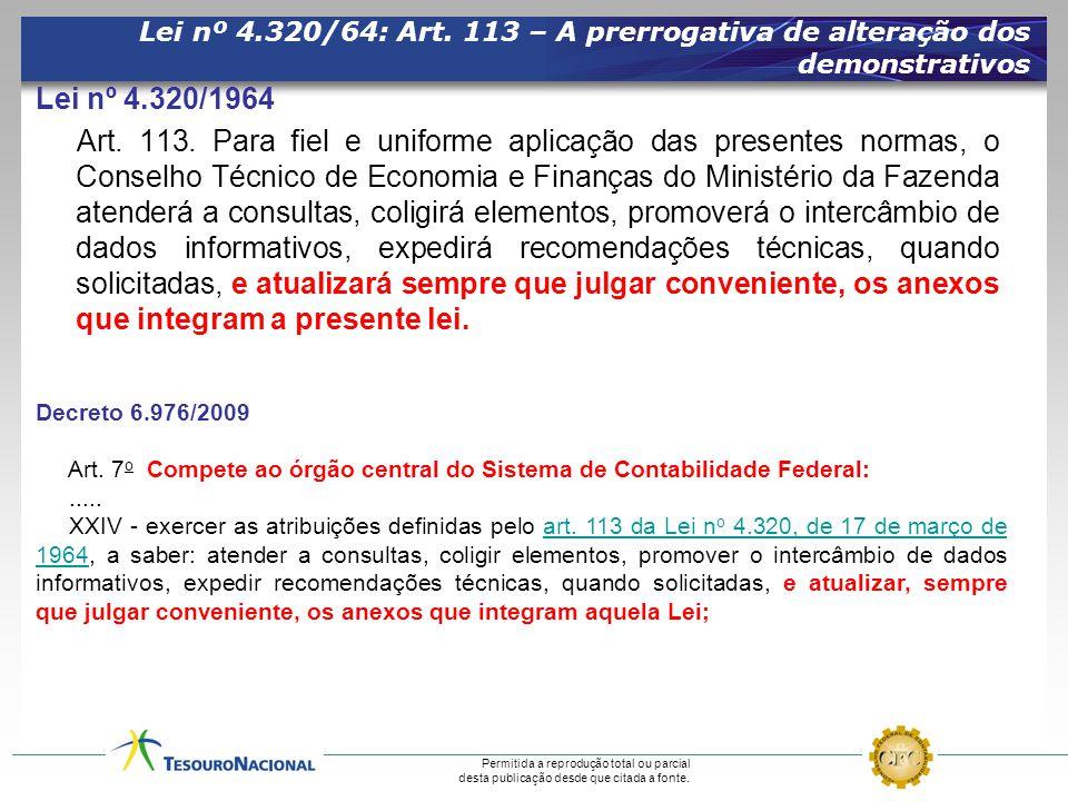 Permitida a reprodução total ou parcial desta publicação desde que citada a fonte. Lei nº 4.320/64: Art. 113 – A prerrogativa de alteração dos demonst
