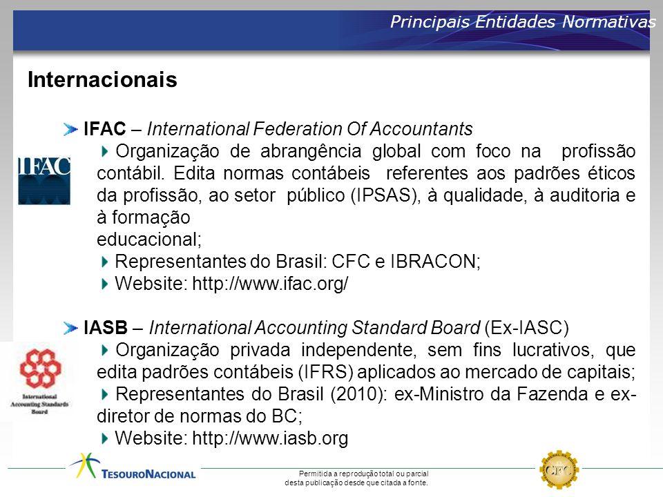 Permitida a reprodução total ou parcial desta publicação desde que citada a fonte. Principais Entidades Normativas IFAC – International Federation Of