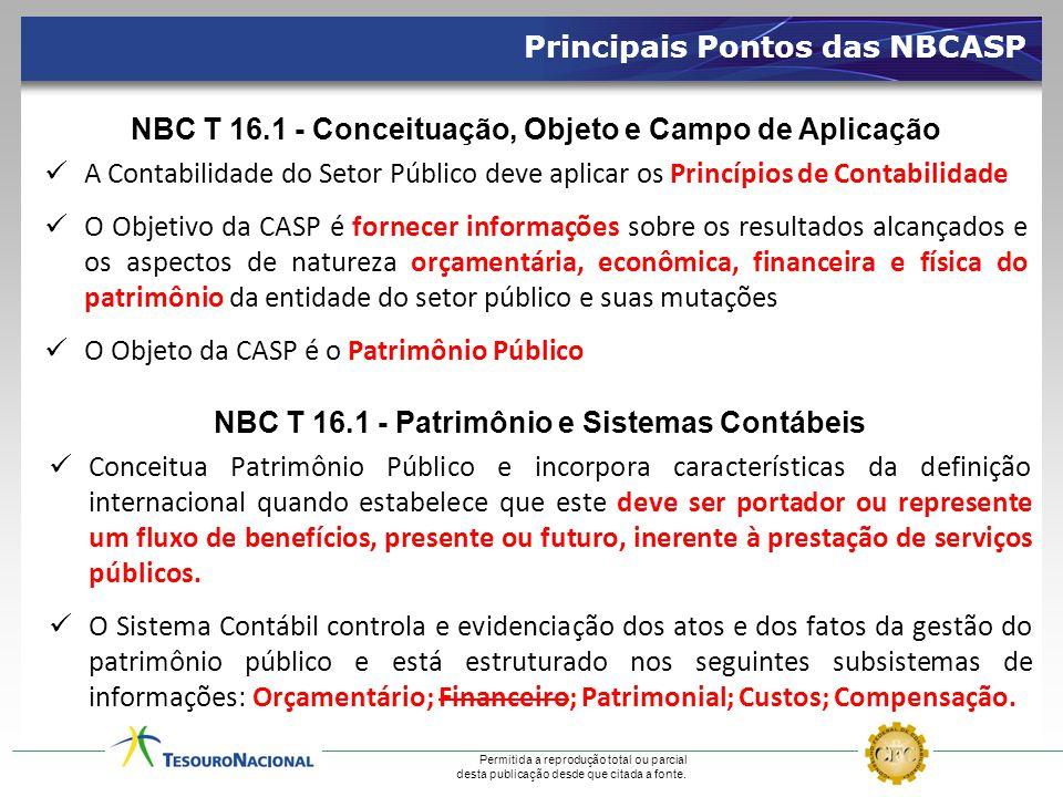 Permitida a reprodução total ou parcial desta publicação desde que citada a fonte. Principais Pontos das NBCASP NBC T 16.1 - Conceituação, Objeto e Ca