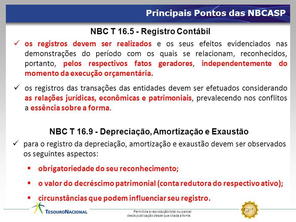 Permitida a reprodução total ou parcial desta publicação desde que citada a fonte. Principais Pontos das NBCASP NBC T 16.5 - Registro Contábil  os re