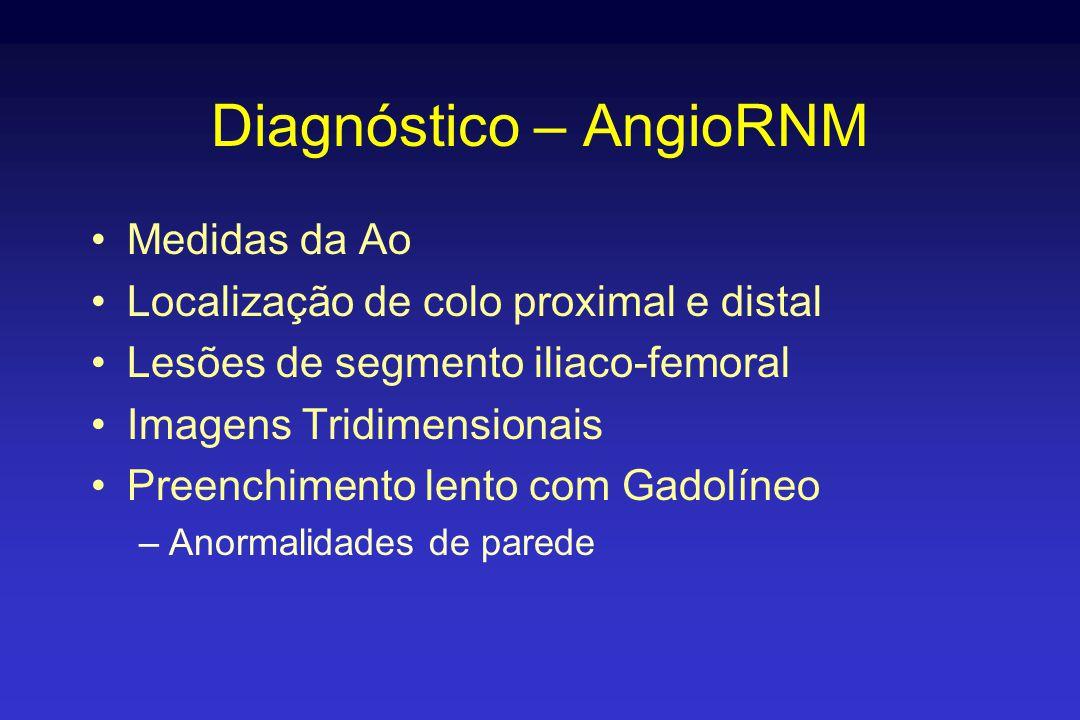Diagnóstico – AngioRNM •Medidas da Ao •Localização de colo proximal e distal •Lesões de segmento iliaco-femoral •Imagens Tridimensionais •Preenchimento lento com Gadolíneo –Anormalidades de parede
