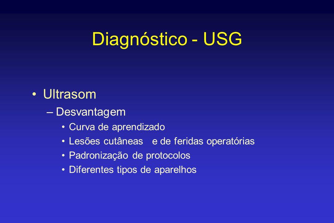 Diagnóstico - USG •Ultrasom –Desvantagem •Curva de aprendizado •Lesões cutâneas e de feridas operatórias •Padronização de protocolos •Diferentes tipos de aparelhos