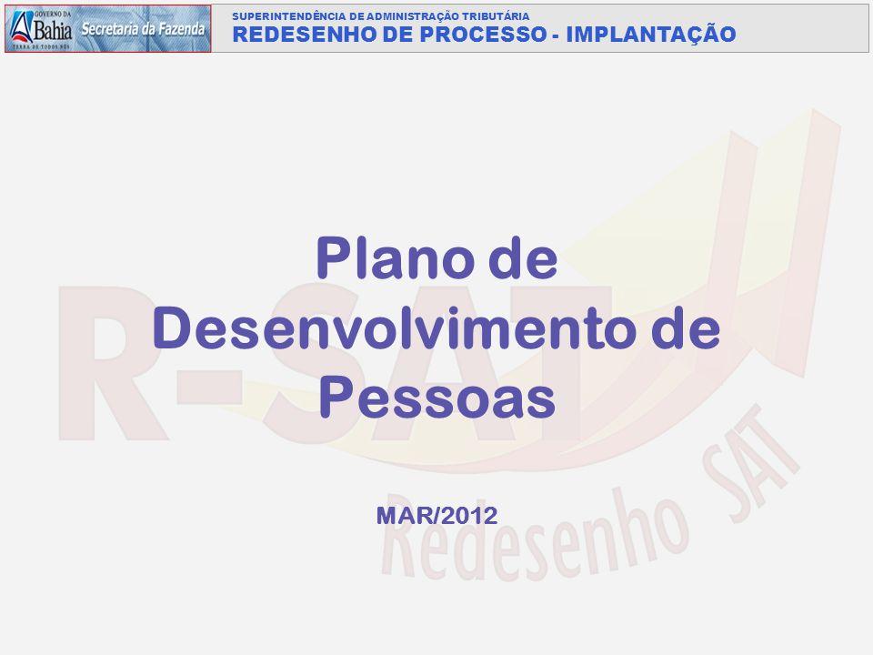 SUPERINTENDÊNCIA DE ADMINISTRAÇÃO TRIBUTÁRIA REDESENHO DE PROCESSO - IMPLANTAÇÃO Plano de Desenvolvimento de Pessoas MAR/2012