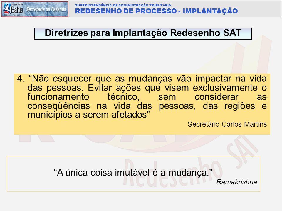 SUPERINTENDÊNCIA DE ADMINISTRAÇÃO TRIBUTÁRIA REDESENHO DE PROCESSO - IMPLANTAÇÃO 4.