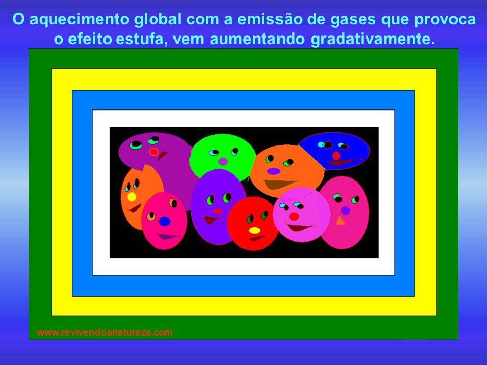O aquecimento global com a emissão de gases que provoca o efeito estufa, vem aumentando gradativamente. www.revivendoanatureza.com