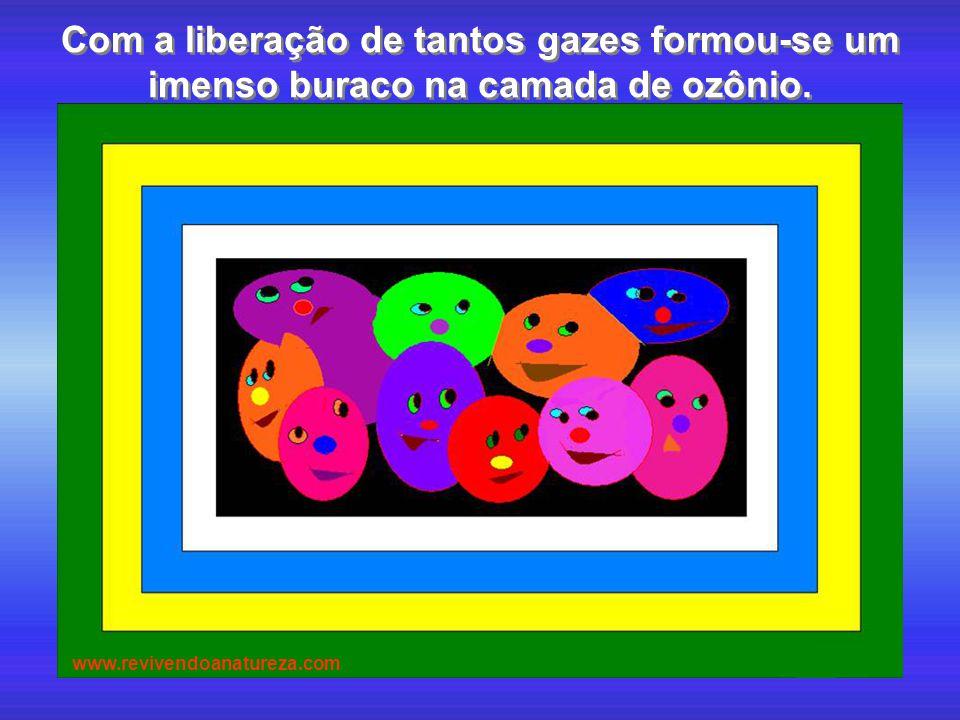 Com a liberação de tantos gazes formou-se um imenso buraco na camada de ozônio. www.revivendoanatureza.com