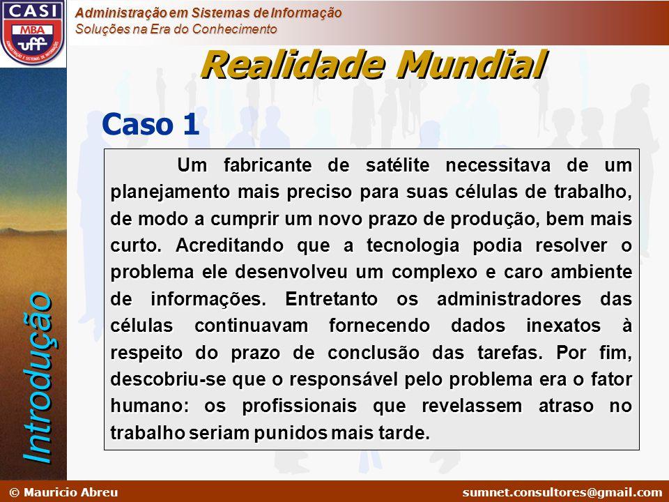 sumnet@microlink.com.br © Mauricio Abreusumnet.consultores@gmail.com Administração em Sistemas de Informação Soluções na Era do Conhecimento Caso 1 Um